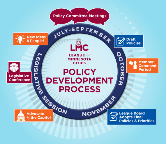 Graphic that depicts the LMC policy development process throughout the year