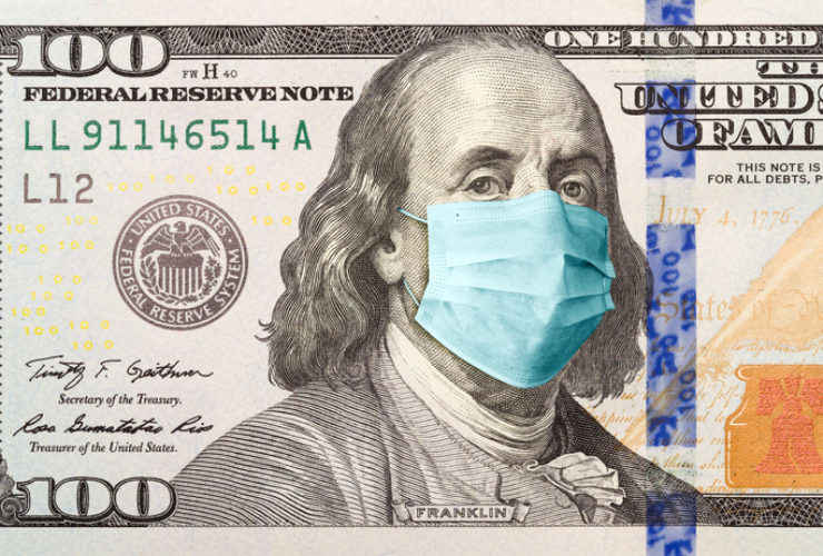 Illustration of COVID stimulus package: $100 bill with medical face mask on Benjamin Franklin.