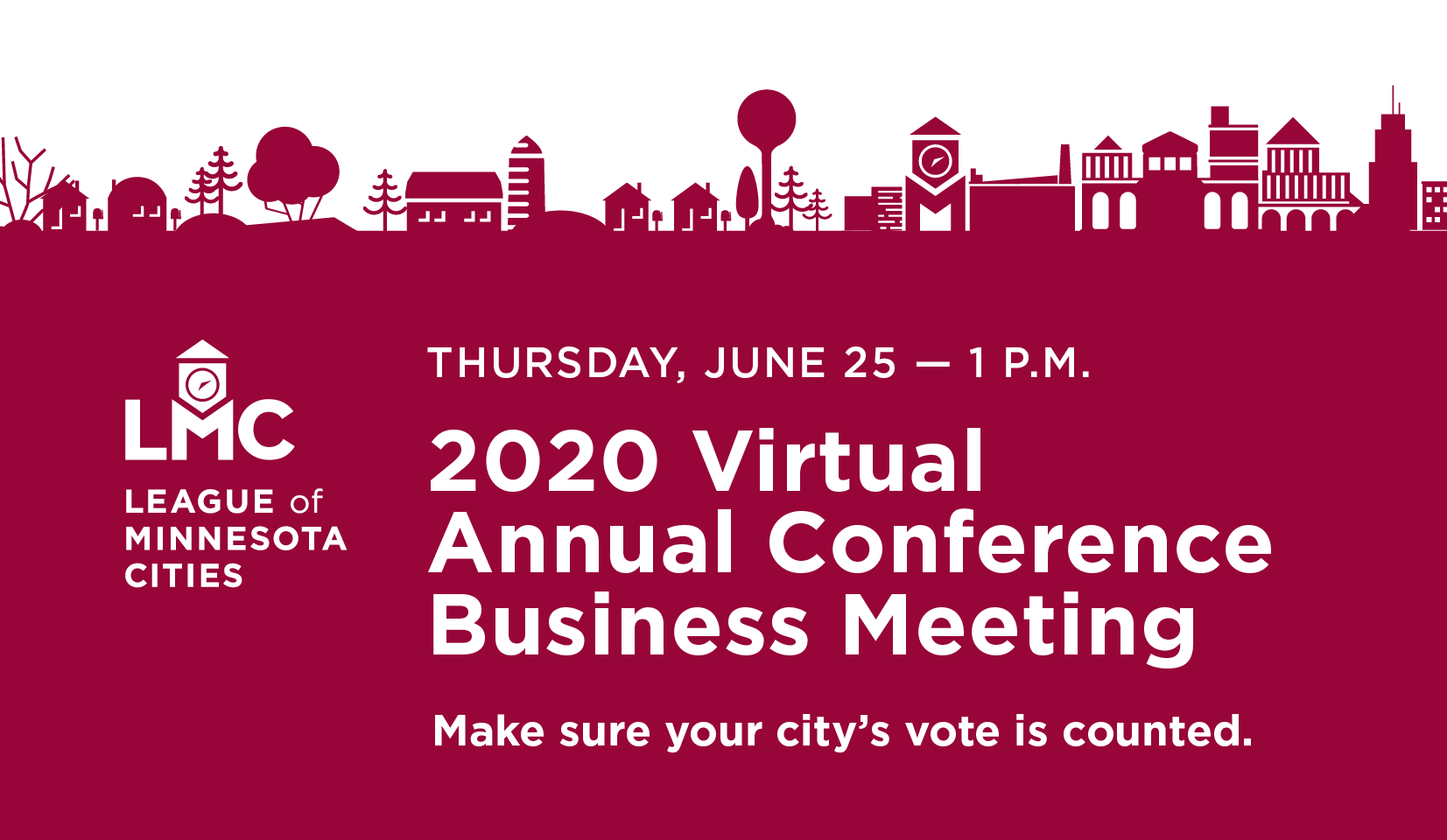 2020 Virtual Annual Conference Business Meeting on a red cityscape background