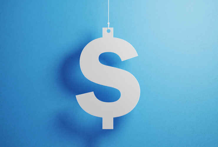 dollar sign hanging on a string