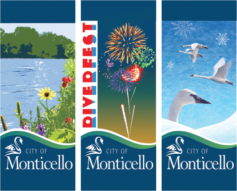 Three banners that promote Monticello.