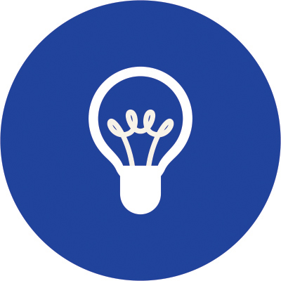 A white icon of a lightbulb is embedded in a bold blue circle.