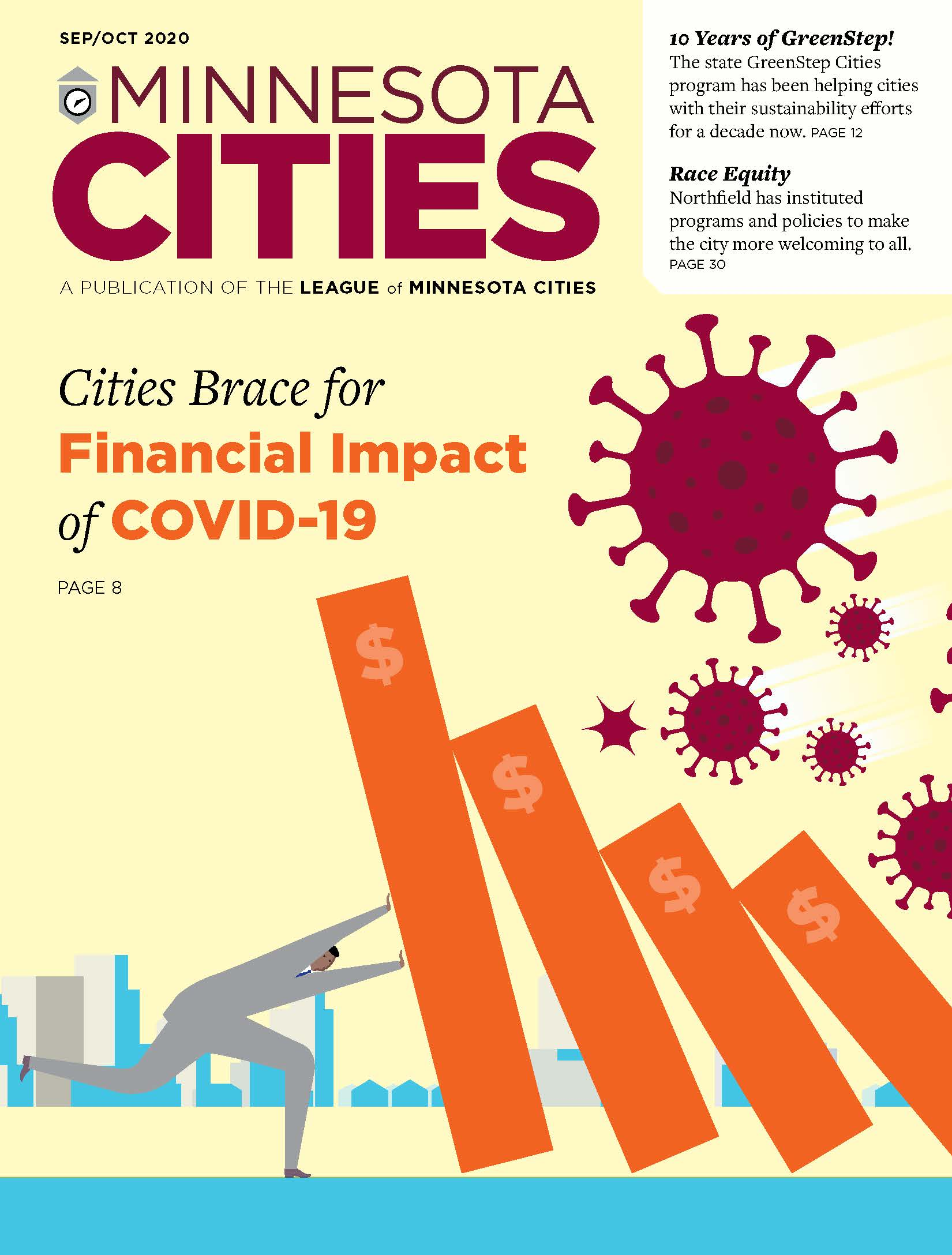 Cover of Sep-Oct 2020 issue of Minnesota Cities magazine with illustration of a man holding up a financial bar graph, fighting against the effects of COVID-19. Text says: Cities Brace for Financial Impact of COVID-19.