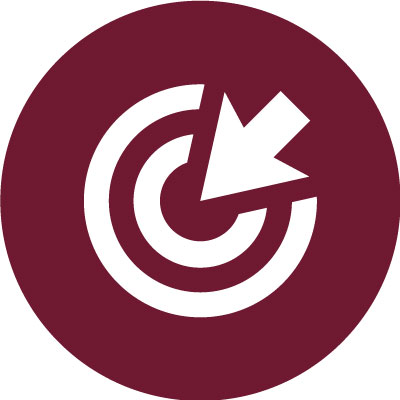 A white icon of an arrow pointing at the center of a circle is embedded in a dark maroon circle