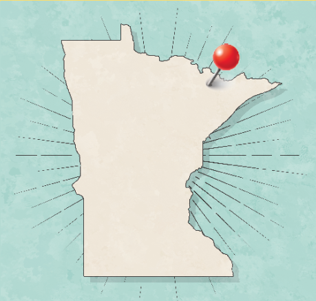 Ely, pinned on a Minnesota state map
