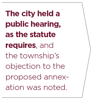 Quote. The city held a public hearing, as the statute requires, and the township's objection to the proposed annex­ ation was noted.