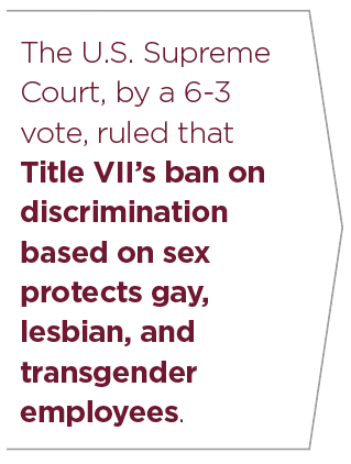 Quote. The U.S. Supreme Court, by a 6­3 vote, ruled that Title VII's ban on discrimination based on sex protects gay, lesbian, and transgender employees.
