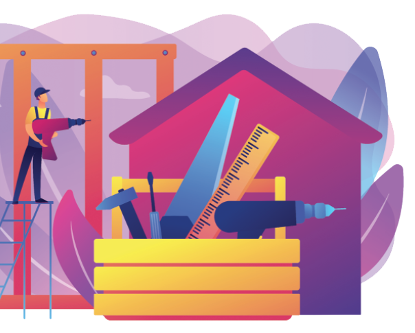 A home builder with tools.