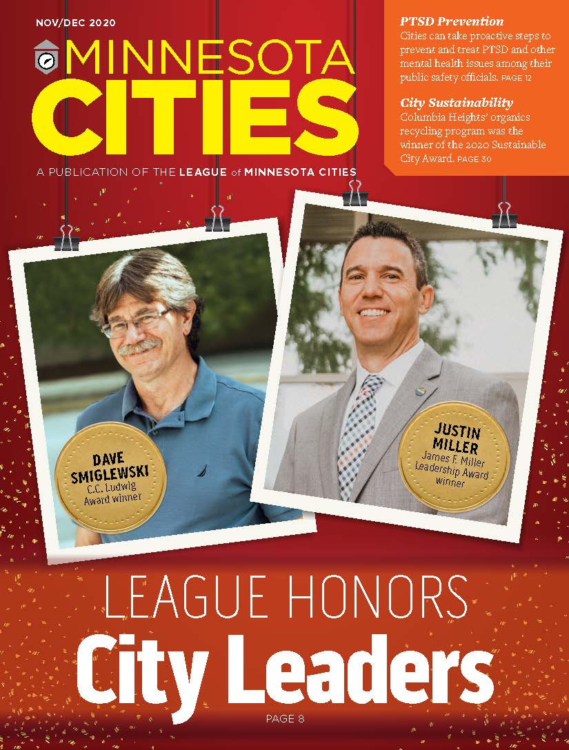 Cover of Nov-Dec 2020 MN Cities magazine with photos of award winners. Text: League Honors City Leaders