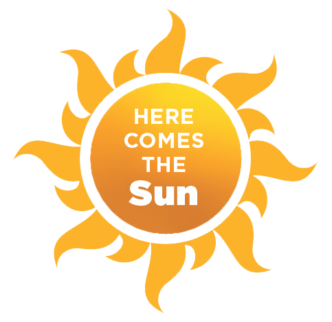 """The sun with words """"here comes the sun"""""""