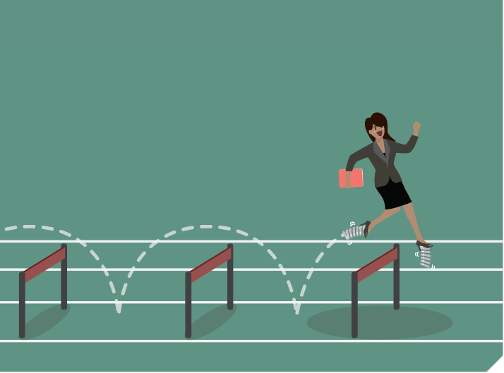 A person jumping over hurdles.