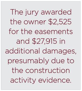 The jury awarded the owner $2,525 for the easements and $27,915 in additional damages, presumably due to the construction activity evidence.