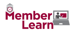 The words MemberLearn appear in a cranberry color, with the League of Minnesota Cities logo atop the M and a grey laptop to the right of these words.