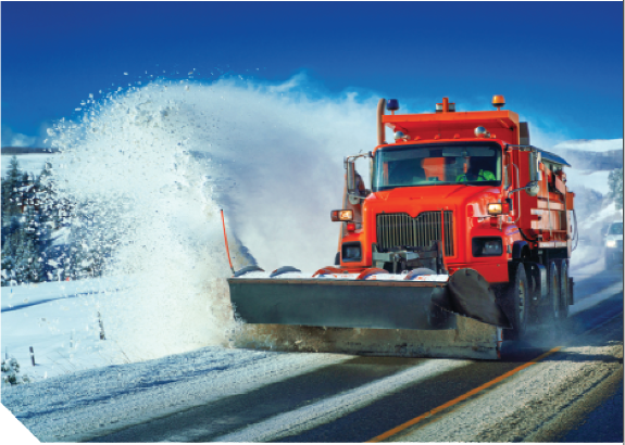 Snowplow clearing a highway