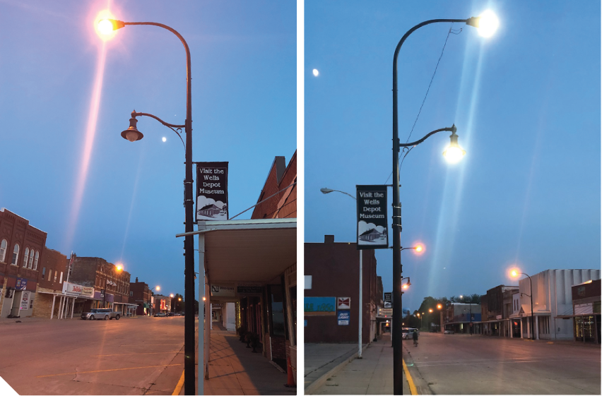 Photos of light pole in downtown Wells before the new LED lights and after installing the new LED lights.