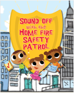 Drawings of children using the tools in the Sound Off program with text above them: Sound off with the home fire safety patrol.