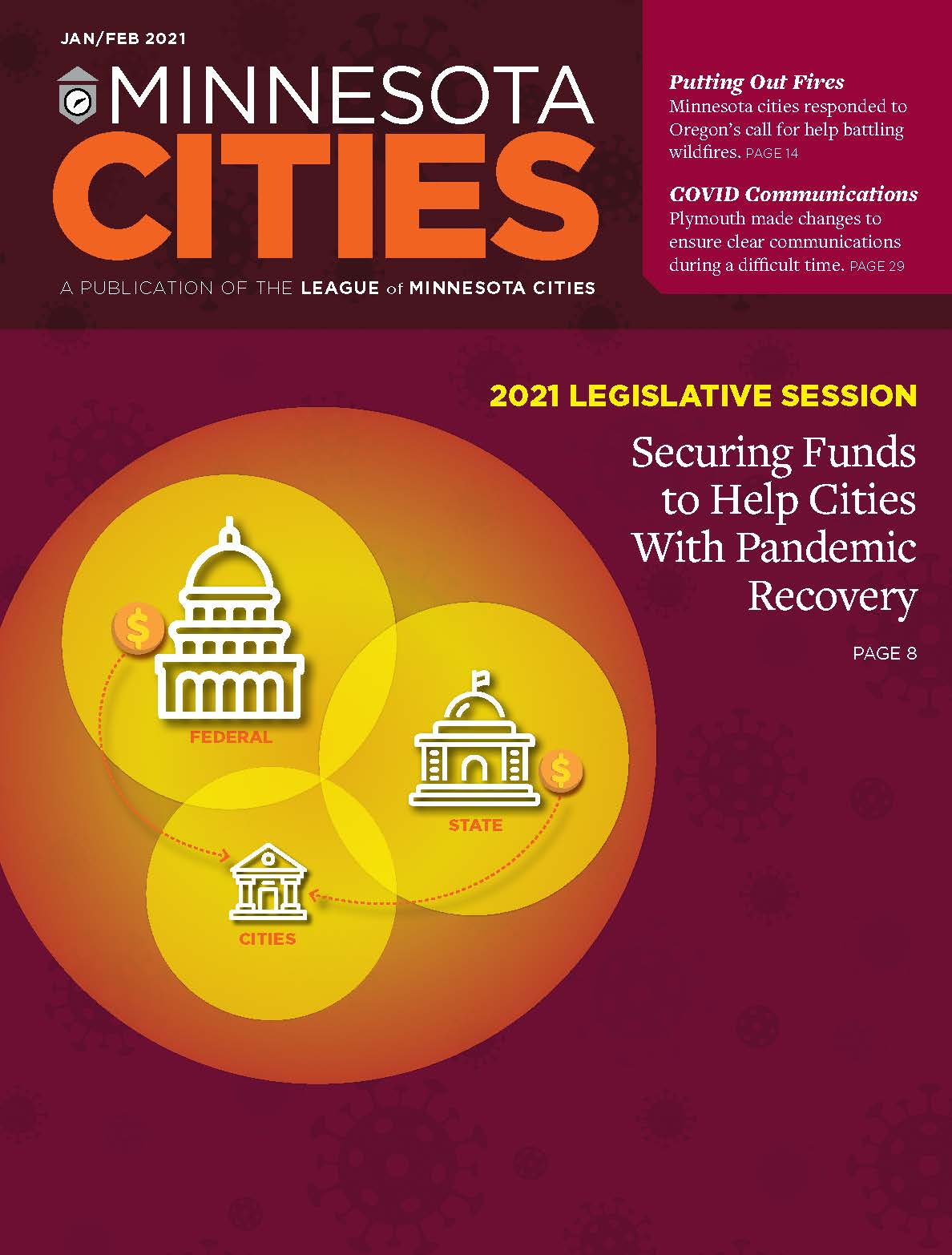 Cover of Jan-Feb 2021 magazine: Securing Funds to Help Cities With Pandemic Recovery.