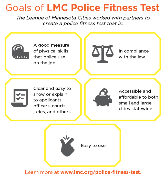 Goals of LMC Police Fitness Test. A good measure of physical skills that police use on the job. In compliance with the law. Clear and easy to show or explain to applicants, officers, courts, juries, and others. Accessible and affordable to both small and large cities statewide. Easy to use.