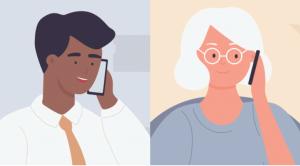 Two people talking on phones.