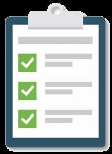 A checklist on a clip board
