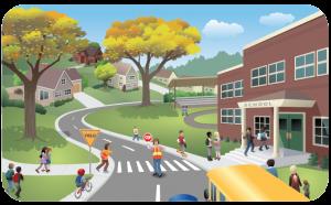 A school and crosswalk