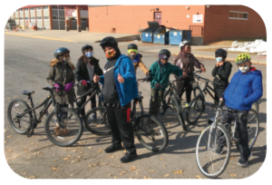Group of students on bikes
