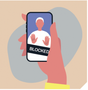"""A phone displaying the word """"blocked"""""""