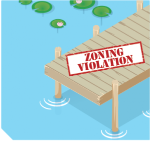 """A dock and message that reads """"Zoning Violation"""""""