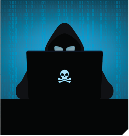 A dark, hooded cyber attacker at a laptop