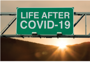 """Highway sign that reads """"life after COVID-19"""""""