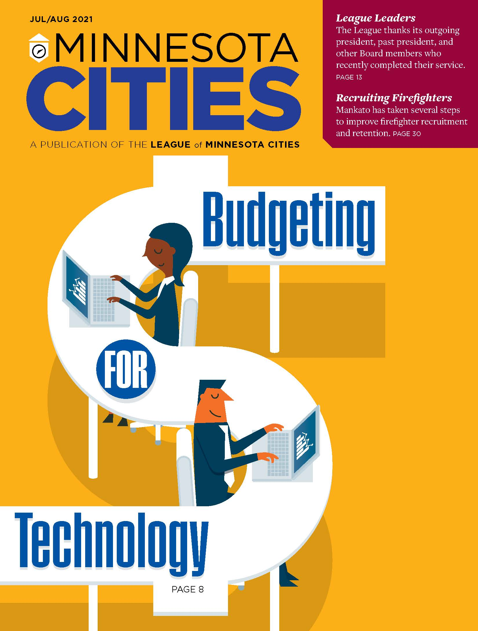 Cover of the July, August Minnesota Cities Magazine